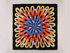 "Large Square Silk Scarf 36""x36"" (90x90cm) Black and Yellow SBD013"