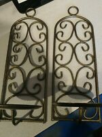 Sconces Pair of 2 Iron Heavy Southern? Party Lite? Well Made heavy large candle