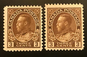 Canada #108 & #108c 3c Admiral Dry & Wet Printing MNH