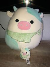 """Belana Blue Cow with Bandana 16"""" And 3.5 NWT Squishmallows Easter HTF 2021"""