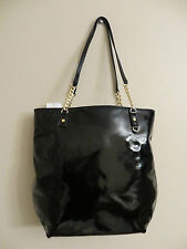 NWT Michael Kors Jet Set Black Patent Leather NS Chain Tote MSRP $268
