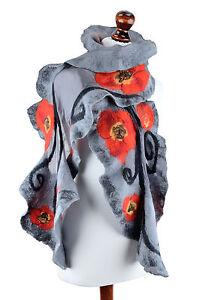 Large nuno felt poppy shawl for elegant women, chic & stylish evening accessory