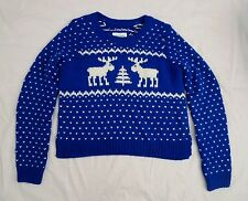 NWT Abercrombie Womens Christmas Crop Gemma Sweater Size XS Royal Blue