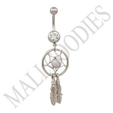B103 Off White Dreamcatcher Dream Catcher Belly Navel Ring Feather Bead Surgical