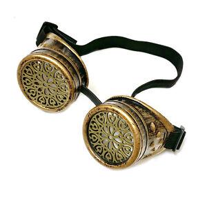 Steampunk Goggles Retro Brass Color Cosplay Glasses Accessories