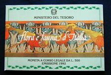 1992 Italy 500£ rare silver coins  Flora e Fauna UNC/BU in official folder