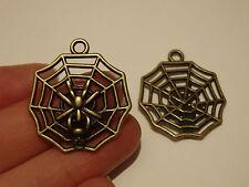 10 spider charms pendants bronze antique jewellery making wholesale craft UK