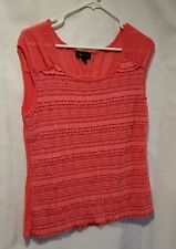 AB Studio Women's Size XL Peach/Orange Sleeveless Texture Top