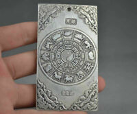 Tibet Silver Chinese Collectable Bullion thanka amulet Dragon and Phoenix