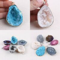 Natural Crystal Agate Geode Raw Stone Pendant Necklace Jewelry Crafts DIY Acces