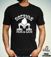 DBZ Vegeta Gym T shirt Dragon Ball Z Bodybuilding Training Men's Tee Top S - XXL