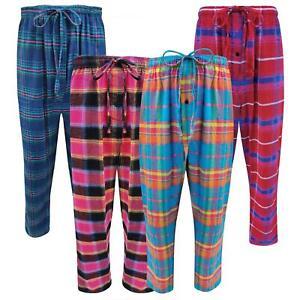 Womens Ladies Plus Size Flannel Pyjama Bottoms Lounge Pants PJs Trousers