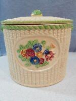 Vintage Biscuit Jar Ceramic Made In Japan Flowers Woven Basket Lid Beige