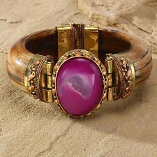 New Tara Mesa Purple Drusy Quartz & Bone Bangle Bracelet