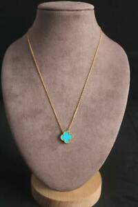Turquoise Gemstone 18K Yellow Gold Over Four Leaf Clover Pendant Chain Necklace