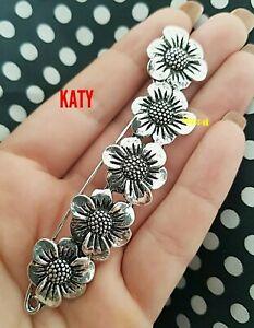 Large Silver Tone 5 Daisy Safety Pin Scarf Shawl Fly Plaid Kilt Brooch Sash