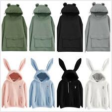 Sudadera para Mujeres Niñas orejas de conejo lindas Rana con capucha informal suelto top jersey