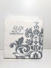 Creative Converting 36 Count 3 Ply 25th Anniversary Lunch Napkins Silver