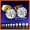 18K WHITE GOLD GF SILVER CT SIMULATED DIAMOND MEN WOMEN KIDS ROUND STUD EARRINGS