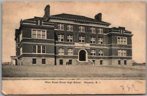 """Westerly, Rhode Island Postcard """"West Broad Street High School"""" 1960 Cancel"""