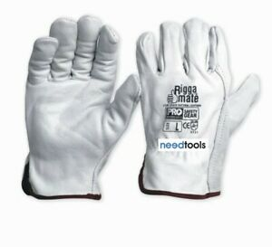 12 Pkt GLOVES Rigger Riggamate Cow Grain Natural Leather Riggers Gloves Large