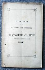 RARE 1856 Dartmouth College HANOVER NEW HAMPSHIRE Ivy League CLASS CATALOG 1857