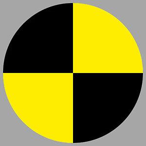 Aufkleber 10cm gelb Sticker Fadenkreuz crashtest dummy Zeichen Symbol Markierung