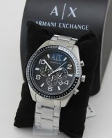 NEW AUTHENTIC ARMANI EXCHANGE SILVER BLACK CHRONOGRAPH MEN'S AX1254 WATCH