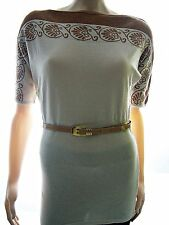 Damen Tunika Minikleid aus Feinstrick Damenstrick Kurzarm Netzloch Natur 36 38