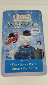 Rudolph Snowman Kit Black Fabric Hat Red Scarf Wooden Carrot Eyes Buttons Tin