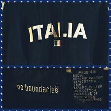 No Boundaries Italia Italy Italian Flag Hoodie Pullover Navy Blue M 38-40