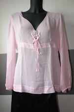 Dine'n'Dance Seiden Shirt durchsichtig mit Muster in Rosa Gr.XL NEU