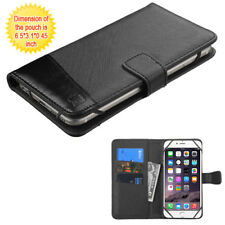 iPhone 6+ / 7+ / 8+ PLUS - Black Card ID Money Wallet Diary Holder Case Cover