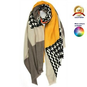 Cashmere blend Colourful blocks mixed woman girl winter Scarf
