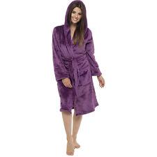 Ladies Womens Luxury Hooded Fleece Bath Robe Dressing Gown Pyjamas Lounge Wear Shimmer Navy X Large Size 20-22