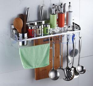 Wall Mount Kitchen Tools Shelves Spoon Forks Storage Utensils Stand Rack Hooks