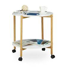 Relaxdays table D'appoint ronde À roulettes avec freins 2 plateaux blancs Boi...