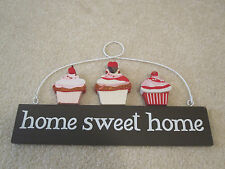Cupcake home sweet home welcome sign wooden plaque pre-owned