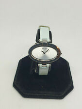 ladies Next silver tone dress watch,silver face & oval case,blue strap.#b