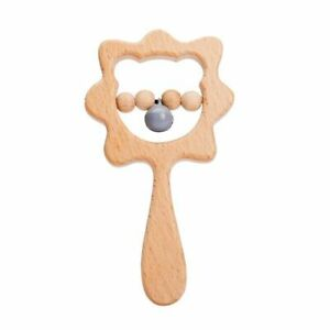 Wooden Cartoon Animal Rattle Customizable Hand Rattle Baby Toy Wooden Tooth