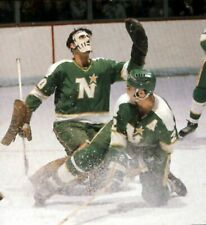 CESARE MANIAGO  GOALIE  AND BARRY GIBS  MINNESOTA NORTH STARS HOCKEY PHOTO 8X10