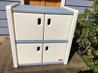 Vintage Little Tikes Tykes Vintage Storage Cabinet Blue White Dresser Bookcase