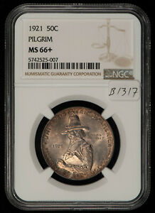 1921 50c Pilgrim Commemorative Silver Half Dollar - NGC MS 66+ Plus - SKU-B1317