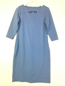 Doncaster boat neck keyhole neckline ponte knit stretch dress blue size 6 small