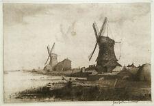 SIGNED Etching & Drypoint ~ JACQUES J. KOEMEN ~ 1911 Windmills Near Edam DUTCH