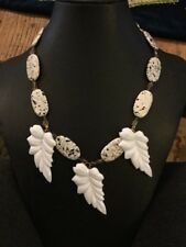 "Vintage Estate Dangle White Leaf and Faux Stone Beaded Necklace 19"" Long"