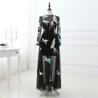 Long Sleeve Embroidered A Line Tulle Formal Evening Party Prom Dress Gown Custom