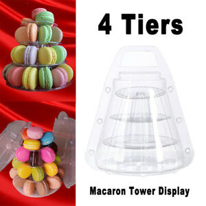 4 Tier Clear Macaron French Macaroons Tower Cake Cupacake Stand Box Weddings