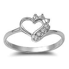 .925 Sterling Silver Ring size 4 CZ Round cut Heart Midi Kids Ladies New x34