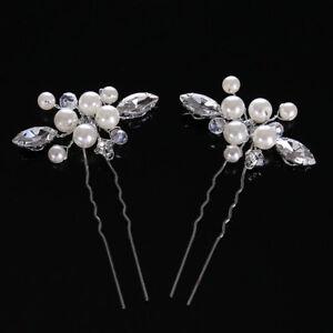 XL Haarnadeln Blume Strass Glas Perlen Hochzeit Braut Haarschmuck Kopfschmuck